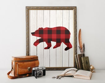 Bear Wall Art, Lumberjack Birthday Party Sign, Gift for Him, Lumberjack Birthday, Plaid, Man Cave, Husband, Father, Instant Download