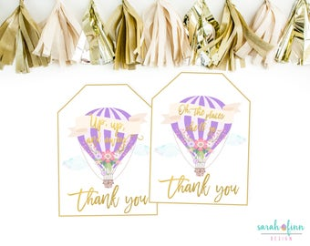 Hot Air Balloon Favor Tags, Baby Shower Favor Tags, Up up and Away, Places She'll Go, Balloon Birthday, Printable, Lavender, Thank You Tags
