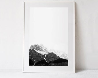 Mountain Art Print, Mountain Print, Minimalist Decor Black and White Poster, Mountain Photography, Mountain Printable Art DOWNLOADABLE PRINT