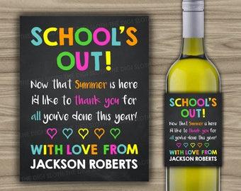 PRINTABLE - Teacher Gift - Wine Label - Thank You Teacher Appreciation - Last Minute Gift Idea - Digital File - End Of School - W13