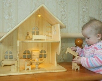 Summer outdoors Summer party Wooden dollhouse with furniture illuminated dollhouse Montessori waldorf Wooden toy house Apartments for toys