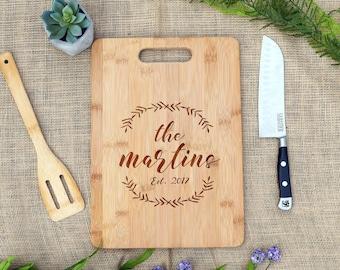 Last Name w/ Wreath Cutting Board, Personalized Cutting Board, Cheese Board, Custom, Engraved, Wedding, Shower, Housewarming, Gift, Present