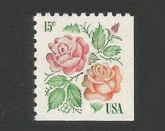 10 Pink & Orange Rose Vintage Postage Stamps, 15 Cents, Unused #1737