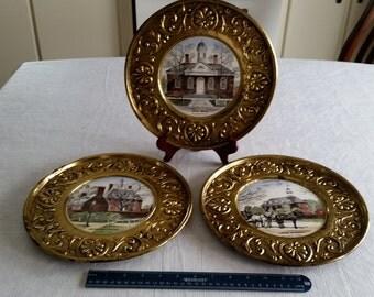 "set of 3 vintage 11"" williamsburg va decorative hammered brass plates w/ wheeling porcelain center tiles - peerage govenor capitol victorian"
