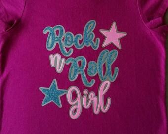 ROCK n ROLL GIRL, Girls T-Shirt, Glittered T-Shirt