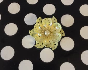 Petals and Pearls~Brooch~Pin~Yellow Flower with Pearl Center~Metal