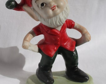 Vintage Porcelain Bisque Christmas Elf Gnome Taiwan