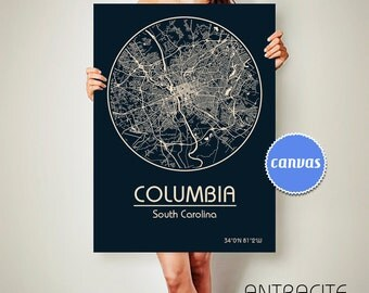COLUMBIA South Carolina CANVAS Map Columbia South Carolina Poster City Map Columbia South Carolina Art Print Columbia
