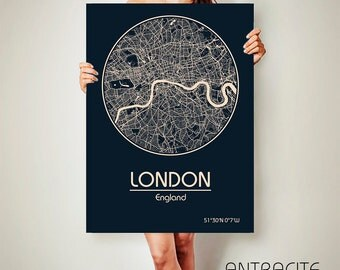 LONDON England CANVAS Map London England Poster City Map London England Art Print London England poster London map art Poster London map