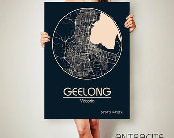 GEELONG Victoria Australia CANVAS Map Geelong Victoria Australia Poster City Map Geelong Victoria Australia Art Print Geelong Victoria