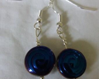 Handmade Sterling Silver Petrol Blue & Clear Spiral Bead Dangle Drop Earrings