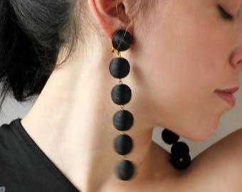 Le bonbons Bon bon earrings Black ball clip earrings Extra long earrings Silk clip on earrings Black earrings Statement lightweight earrings