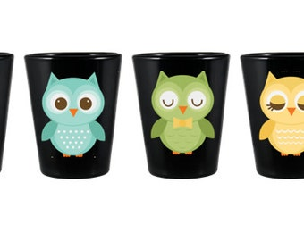 Cute Owl shot glass set