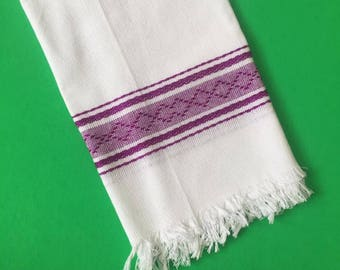 Bright Purple and White Handwoven Kitchen Towel, Tea Towel from Oaxaca Mexico