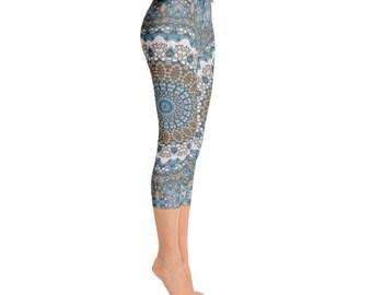 Capris - Mid Rise Patterned Leggings for Women, Tribal Yoga Pants, Mandala Printed Boho Leggings, Burning Man Leggings, Shaman Clothing