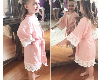 Blush Pink Baby Robe-Flower Girl Robe-Floral Cotton Robe-flower Girl Gift-Baby Shower Gift