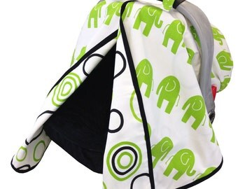 Lime Elephant Car Seat Tent Black Lime green