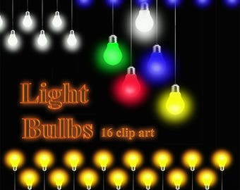 Light Bulbs holiday Clip art Digital feast Strings lights clipart 16 Scrapbooking Elements Personal and Commercial Use