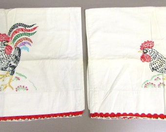 Vintage Hand-Embroidered Rooster Linen Pillow Cases