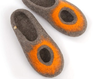 Organic slippers, Womens Felted Slippers, Summer slippers, Boiled wool slippers, Slide in slippers, Slip on house shoes, Cool Slippers, wide