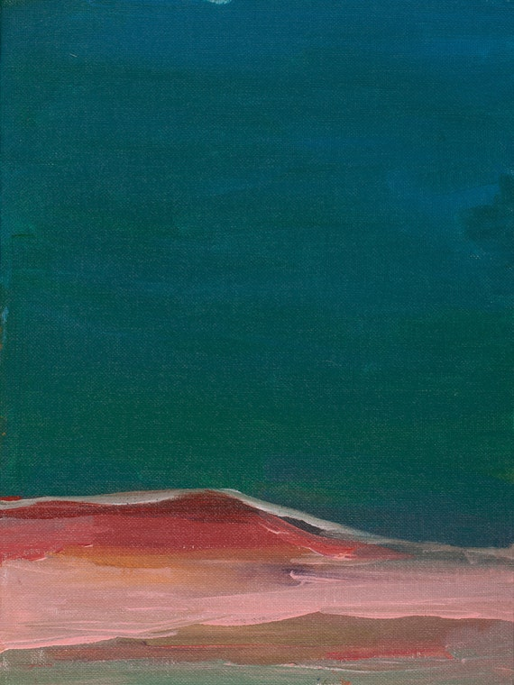 Modern Abstract Turquoise, green and pink landscape beach scene