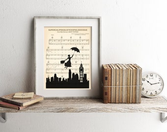 Mary Poppins Supercalifragilisticexpialidocious Silhouette Sheet Music Art Print