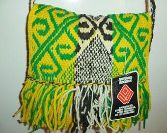 Vintage NEW hippie bag// 90s drug rug Rasta messenger cross body folk Indian woven tapestry// Artesanias Neuquinas Argentina