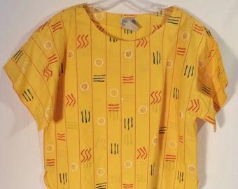 2 PIECE 80s set skirt and top// Boxy short top w pleated skirt mid length// Vintage Regatta Sport// Women's medium 8 10 12 USA 30 W