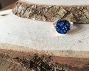 beautiful sparkling blue druzy ring, gift for her