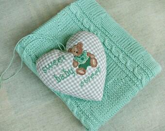 Newborn baby gift set hand knitted blanket light green baby shower gift  textile heart cross stitch teddy gender neutral nursery decorations
