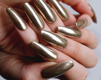 GOLD CHROME Luxury Press On Nails