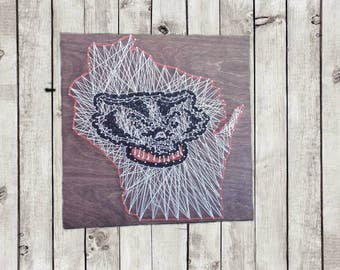 Wisconsin Badger's String Art State Sign