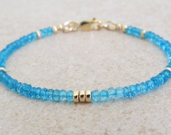 Faceted Blue Topaz & Gold Bracelet