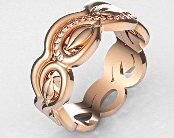 Infinity Engagement and Wedding Ring Set, Rose Gold Bridal Set, Rose Gold Ring Set, Yellow Gold Ring Set, Stacking Ring Set, Gold Stacking