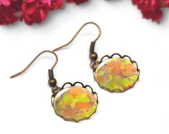Cabochon earrings, Yellow abstract earrings, Dainty dangle earrings, Art jewelry, Boho jewelry for women, Gift for her, 5102-3
