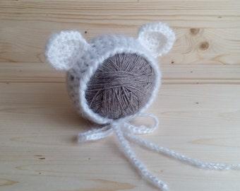 SALE, Mohair Newborn Hat, Newborn Bear Hat, Newborn Photo Prop, Newborn Girl Hat, Crochet Newborn Hat, Knit Baby Hat, Newborn Bonnet