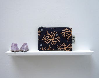 Screenprinted mini pouch, navy blue with coral and silver seaweed design