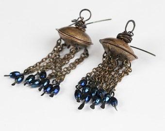 Gypsy earrings Handmade earrings Ethnic earrings Boho earrings Boho jewelry Chain earrings Tribal earrings Statement Gypsy Silver hooks