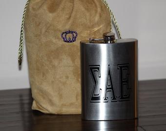 Fraternity/Sorority Stainless Steel Flask - Greek Letters Flask - 12. Oz Stainless Steek Flask