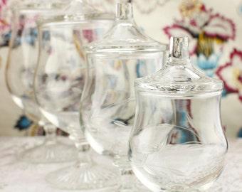 Cut Crystal Lidded Apothecary Jars Set of Four