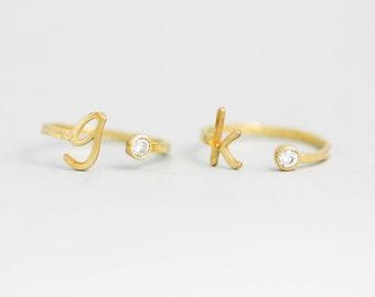 Birthstone Ring, Personalized Birthstone Ring, Initial Ring, Custom Gold Ring, Custom Initial Ring, Personalized Ring, Mothers Ring, SR0209