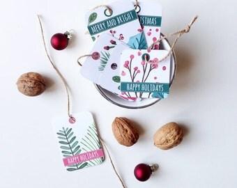 Printable Christmas Gift Tags, Holiday Printable, Christmas favor diy tag, Merry Christmas cards Printable greetings, Digital Christmas