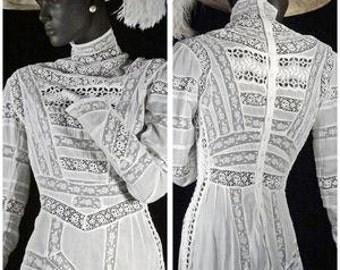Edwardian Tea Dress White Linen Insertion Lace High Neck Sz 6