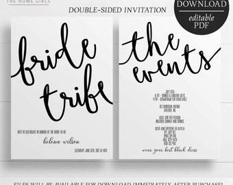 Printable Invitation / Bachelorette Party / Hens Party / Bride Tribe / Editable Template / Hens Night Invitation / Printable Invitation