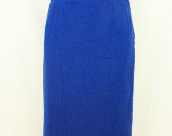 Yves Saint Laurent, vintage skirt, Royal Blue, woollen - size 44 (FR) Size 12 (US)