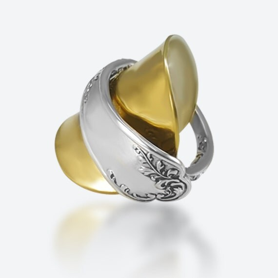 gold spoon ring unique spoon ring two tone ring wraparound