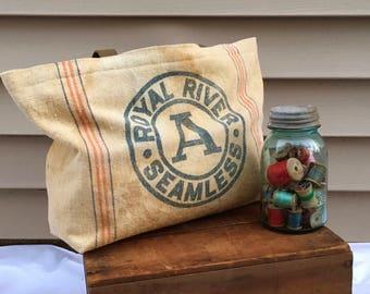 Reclaimed Seamless Grain Sack Tote Bag, Market Tote, Feed Sack Tote