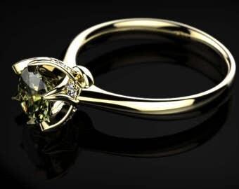 Peridot Engagement Ring Peridot Ring Yellow Gold Ring Peridot Engagement Ring Gemstone Ring Peridot Ring August Birthstone Ring