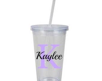 Personalized insulated cup with straw