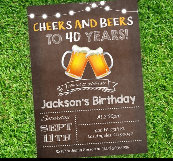 Brown Beers Cheers Birthday Invite